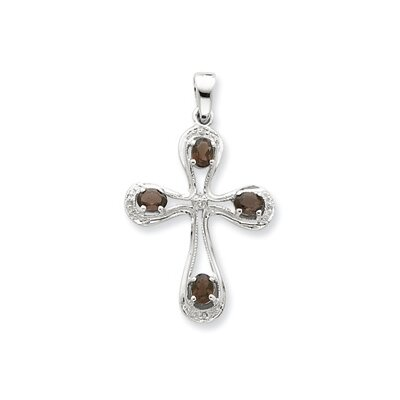 Jewelryweb Sterling Silver Diamond Cross Pendant