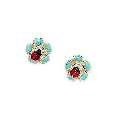 Ladybug Flower Enamel Stud Earrings