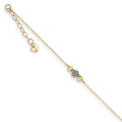 14k Two Tone Diamond-Cut and Filigree Beads Anklet, 9