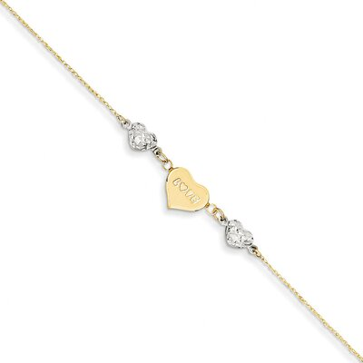 14k Two-Tone Ropa Diamond-Cut Beads Puff Heart Love Anklet, 9