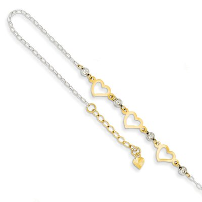 14k Two-Tone Oval Link With Diamond-Cut Beads and Heart Anklet, 9