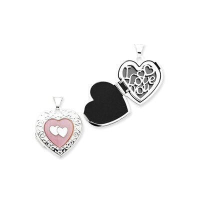 Sterling Silver Pink MOP Double Heart Locket