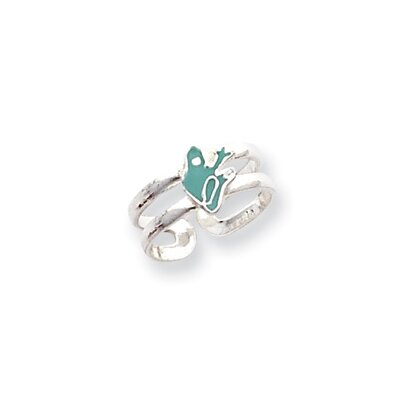 Sterling Silver Frog Solid Toe Ring
