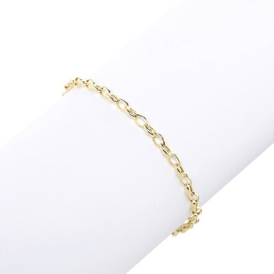 Jewelryweb 14k Yellow Gold Oval Rolo Chain Bracelet