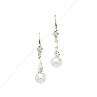 Sterling Silver White Cultured Pearl Earrings