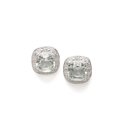 Sterling Silver Rhodium Green Amethyst Diamond Earrings
