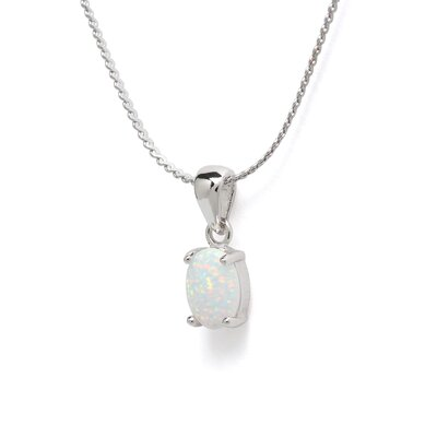 Jewelryweb Sterling Silver Opal Pendant and Earrings Set