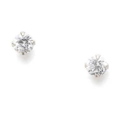Jewelryweb Sterling Silver 3mm CZ Stud Earrings Nickel Free