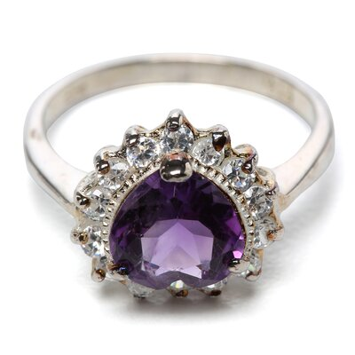 <strong>Jewelryweb</strong> Sterling Silver Amethyst and CZ Heart Ring