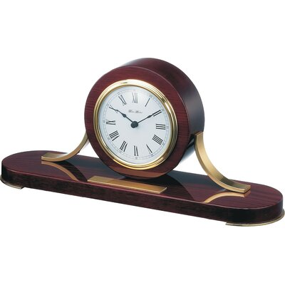 Loquet Mantel Clock in Mahogany with Polished Brass