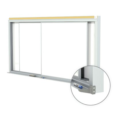 "Ghent 48"" x 144"" Horizontal Sliding Panel Unit Porcelain Magnetic 28 gauge Whiteboard"