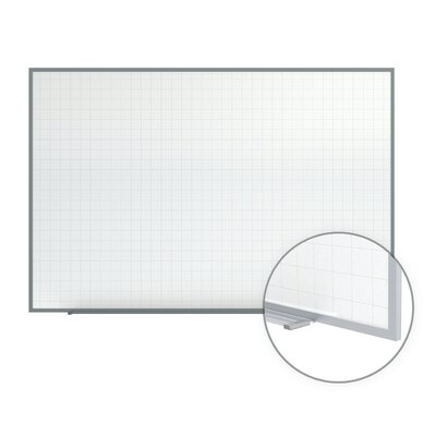 "Ghent 48.5"" x 72.5"" Phantom Line Magnetic Whiteboard - 2"" x 2"" Grid Pattern - Aluminum Frame with 4 Markers and Eraser"