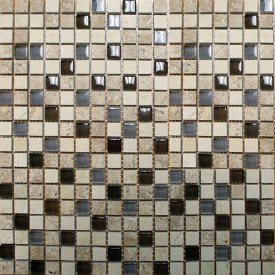 "MS International 12"" x 12"" Polished / Crystallized Glass Mosaic in Café Noce"