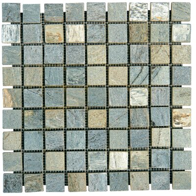 "MS International 1"" x 1"" Tumbled Slate Mosaic in Gold Green"