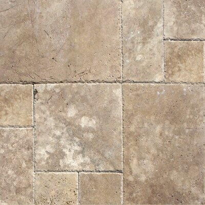 Unfilled And Chipped Travertine Tile in Tuscany Walnut