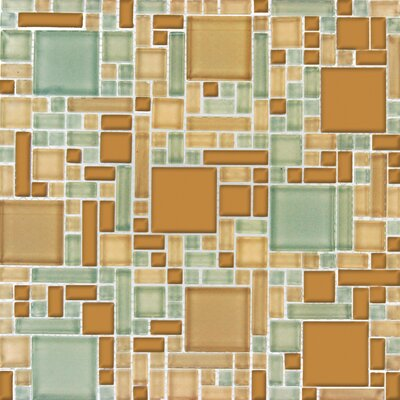 Magic Random Sized Glass Blend Mesh Mounted Mosaic Tile in Mocha Cream