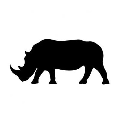 Avalisa Silhouette - Rhino Stretched Wall Art