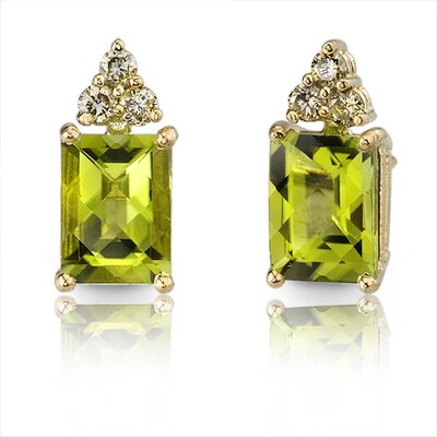 14 Karat Yellow Gold 3.00 carats Radiant Checkerboard Cut Peridot Diamond Earrings