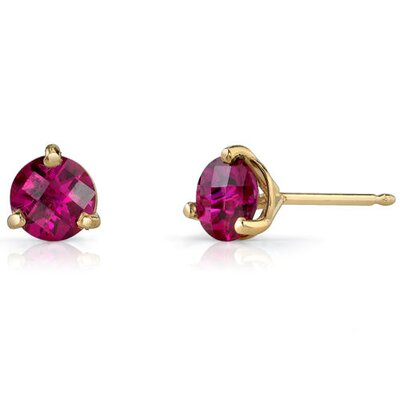 14 Karat Yellow Gold 3 Prong Martini Style 1.00 carats Ruby Stud Earrings