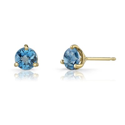 14 Karat Yellow Gold 3 Prong Martini Style 1.00 carats London Blue Topaz Stud Earrings ...