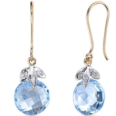 10 Karat Two Tone Gold 9.00 carat Round Checkerboard Cut Blue Topaz Diamond Earrings (0.03 ...