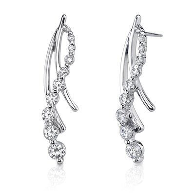 Oravo Shimmering Inspiration: Sterling Silver Designer Inspired Journey Style Post Earrings with Cubic Zirconia