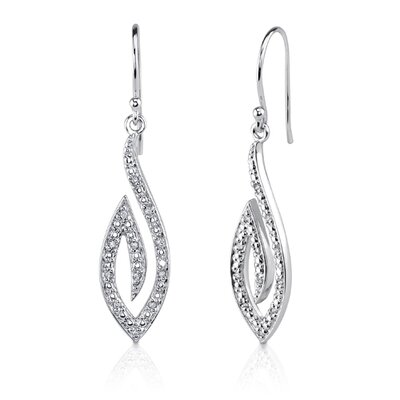 Chic Glamour: Sterling Silver Designer Inspired Teardrop Style Fish-hook Earrings with Cubic ...