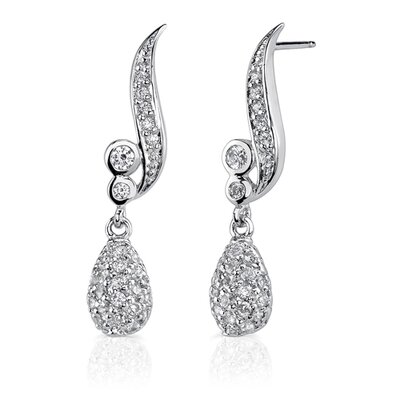 Glitzy Glamour: Sterling Silver Celebrity Inspired Dangle Style Post Earrings with Cubic Zirconia