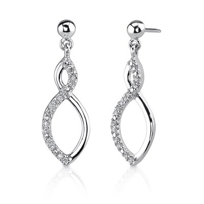 Oravo Classic Trendsetter: Sterling Silver Designer Inspired Open-work Modern Twirled Teardrop Post Earrings with CZ