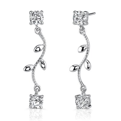 Naturally Chic: Sterling Silver Designer Inspired Dainty Leaf Motif Post Earrings with Cubic ...