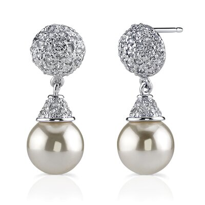 Oravo Luminescent Magic: Sterling Silver Celebrity Style Bridal Jewelry Drop Cubic Zirconia Earrings with Faux Pearls