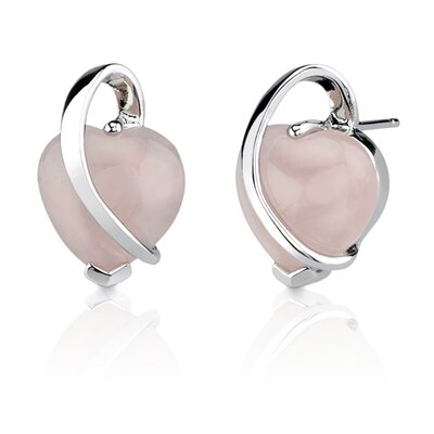 Oravo Delicate Blush of Love: Sterling Silver Designer Inspired Stud Earrings with Cabochon Heart-shape Rose Quartz