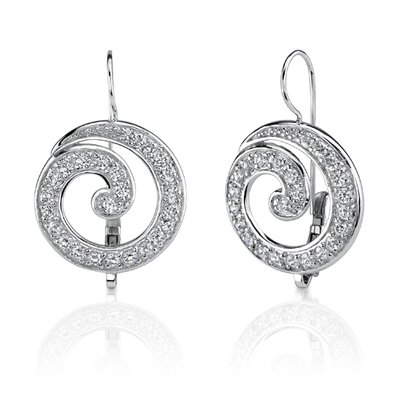 Modern and Chic: Sterling Silver Celebrity Inspired Medallion Style Swirl Earrings with Cubic ...