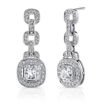 Oravo Inspired Perfection: Sterling Silver Designer Inspired Bridal Style Dangle Earrings with Cushion-cut 7mm Cubic Zirconia