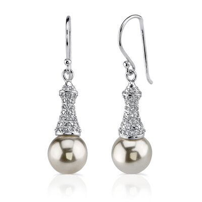 Lustrous Allure: Sterling Silver Bridal Style Fishhook Faux Pearls and Cubic Zirconia Earrings