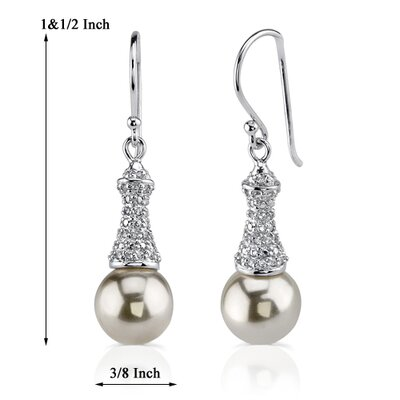 Oravo Lustrous Allure: Sterling Silver Bridal Style Fishhook Faux Pearls and Cubic Zirconia Earrings