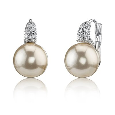 Oravo Romantic Dream: Sterling Silver Bridal Style White Cultured Pearl Cubic Zirconia Drop Earrings