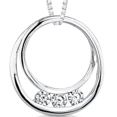 Oravo Eternal Swirl: Sterling Silver Double Circle Slider Pendant necklace with Cubic Zirconia