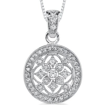 Oravo Vintage Flair: Sterling Silver Vintage Style Medallion Pendant Necklace with Cubic Zirconia