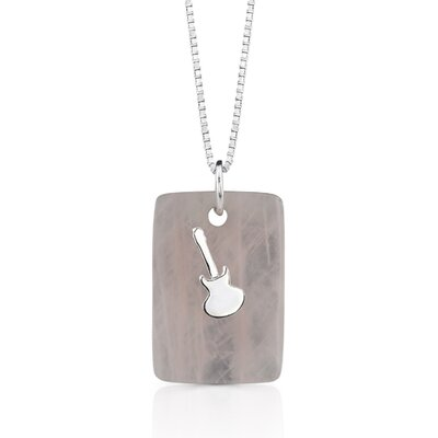 Oravo Music for the spirit: Natural Rose Quartz Pendant Necklace with a Sterling Silver Guitar charm