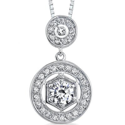 Vintage Inspiration: Sterling Silver Art Deco Inspired Vintage Style Pendant Necklace with ...