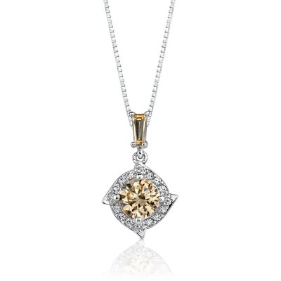 Oravo Golden Grace: Sterling Silver Celebrity Style Drop Pendant Necklace with Champagne Cubic Zirconia