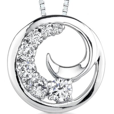 Yours Truly: Sterling Silver Swirl Journey Inspired Slider Pendant Necklace with Cubic Zirconia