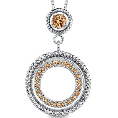Classic Beauty: Sterling Silver Designer Inspired Circle Pendant Necklace with Champagne Cubic ...