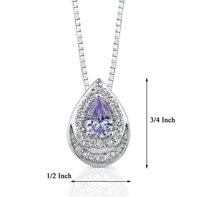 Oravo Exquisite Style Sterling Silver Teardrop Pendant Necklace with Pear Shape Lavender Cubic Zirconia