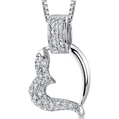 Oravo Sweetheart Style Sterling Silver Bridal Style Floating Heart White Cubic Zirconia Pendant Necklace