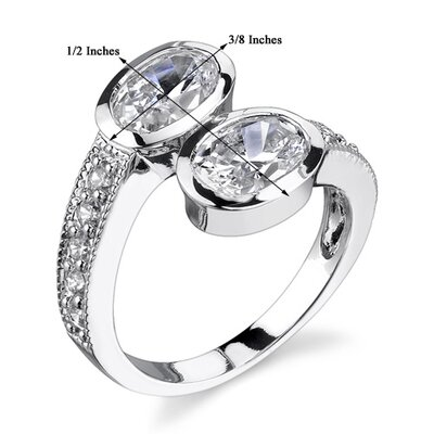 Oravo Perfect Duo Sterling Silver Size 7 By Pass Style Promise Ring with Bezel Set Cubic Zirconia