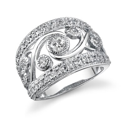 Natural Allure Sterling Silver Celebrity Inspired White Cubic Zirconia Right Hand Ring