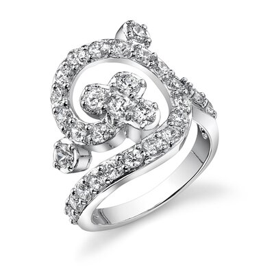 Glorious Glamour Sterling Silver White Cubic Zirconia Right Hand Flower Ring