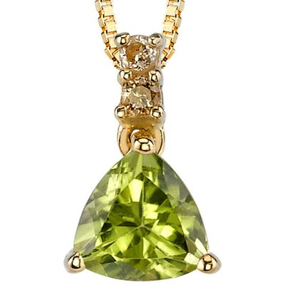 Stunning Enchantment 0.79 Carat Trillion Cut Peridot Diamond Pendant 14 Karat Yellow Gold